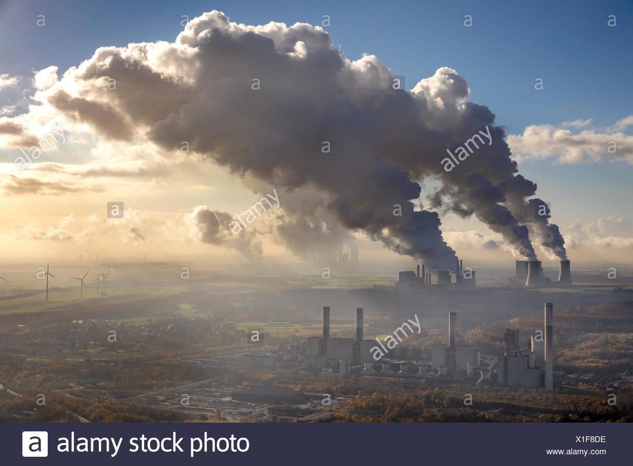 Lignite-fired power plant, Frimmersdorf lignite-fired power plant, RWE Power AG Neurath power plant, BoA 2&3, RWE Power AG - Stock Image