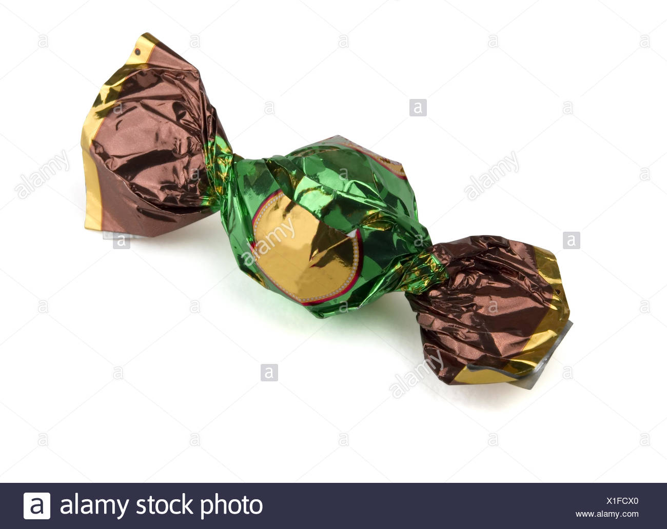 Foil wrapped candy - Stock Image