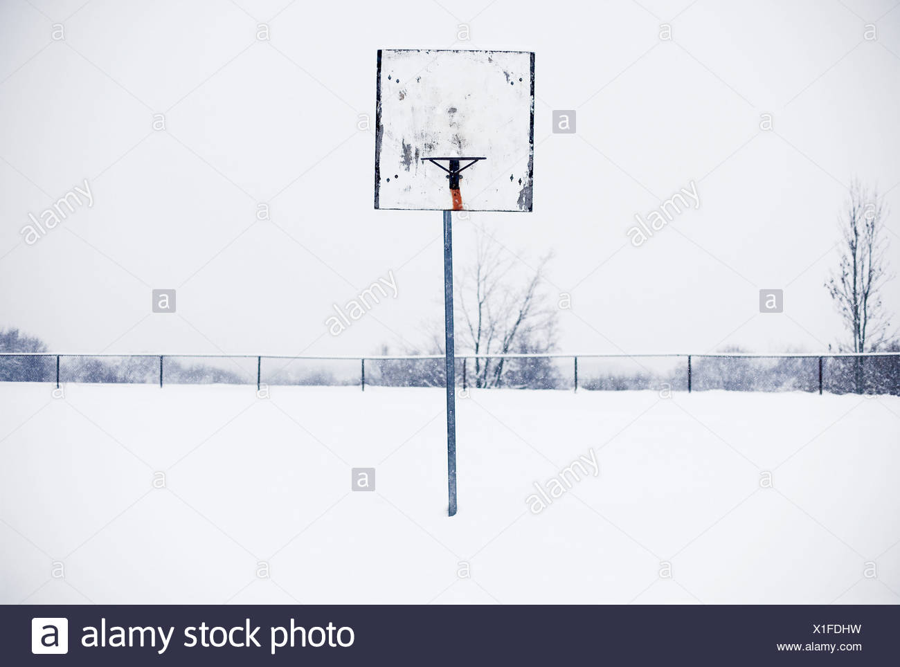 Basketball hoop in snow Stock Photo