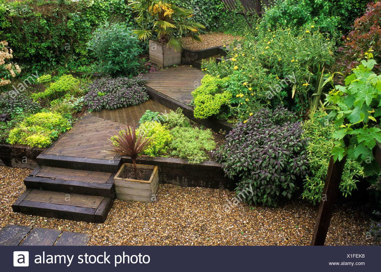 Terraced Garden Decking Steps Levels Gravel Design Containers