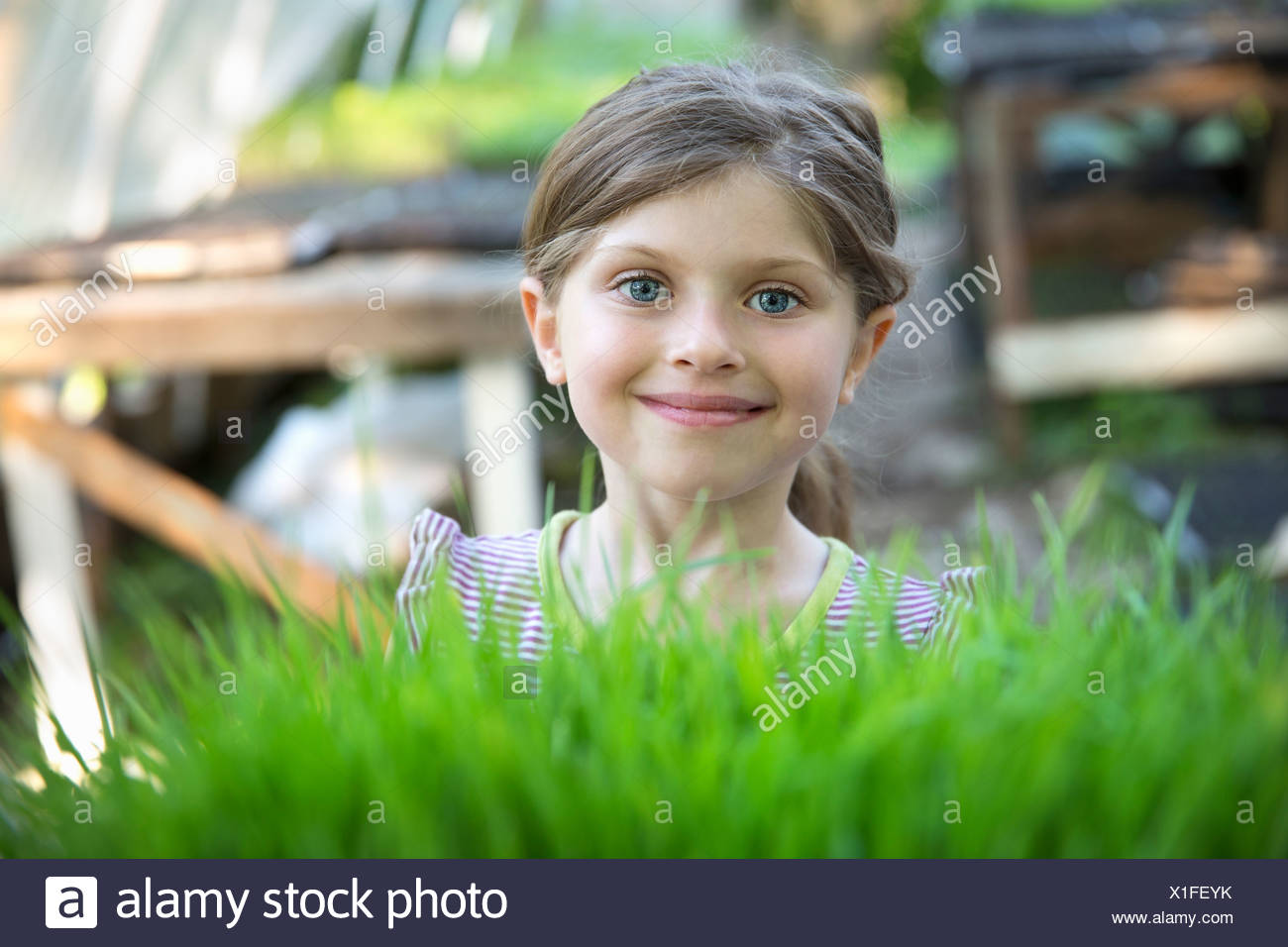 On the farm. A girl standing smiling by a glasshouse bench looking over the green shoots of seedlings growing in trays. - Stock Image