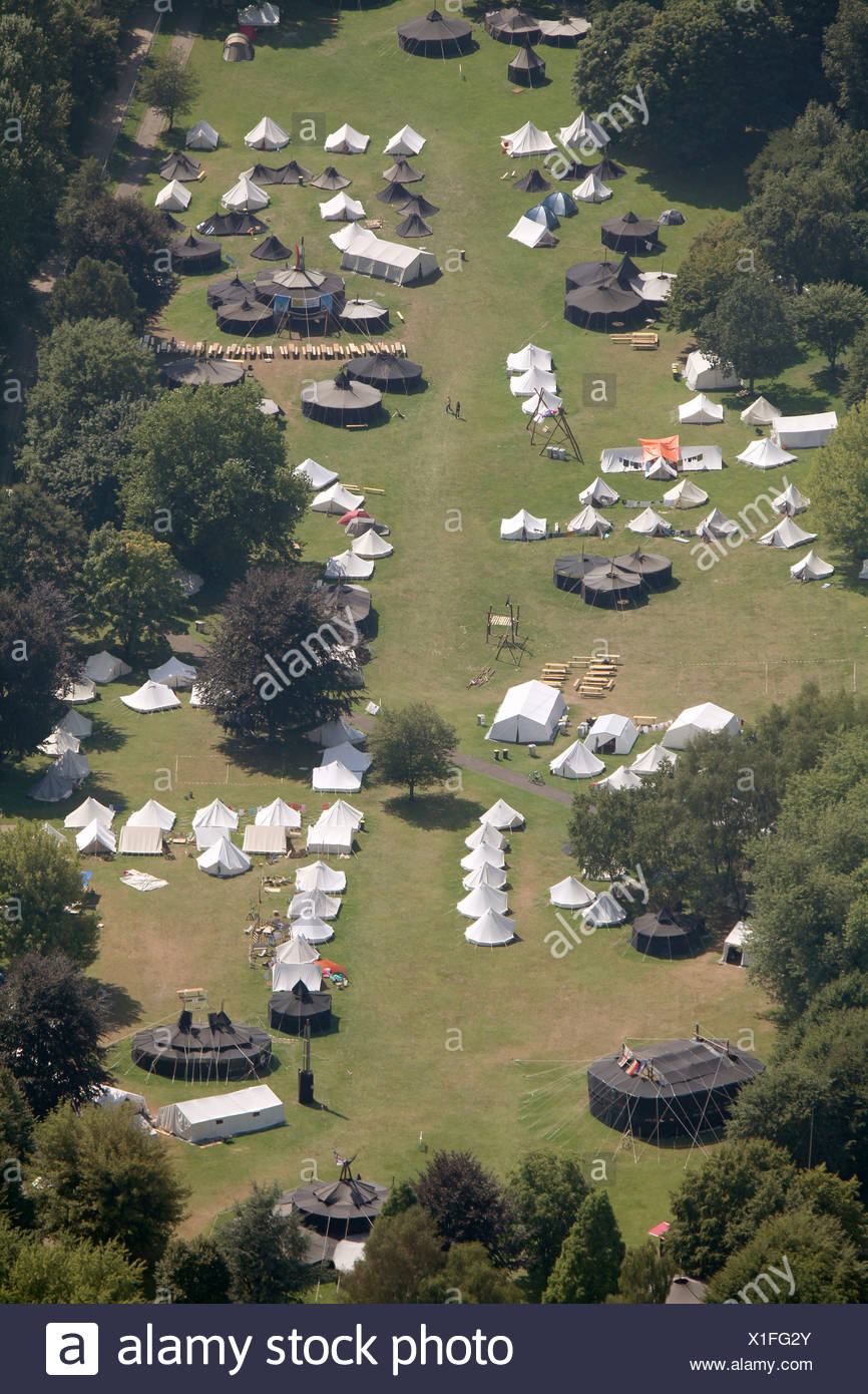 Aerial view, German Scout Association Saint George, DPSG, European Scout Jamboree, ruhrjamb.2010, during European capital of - Stock Image