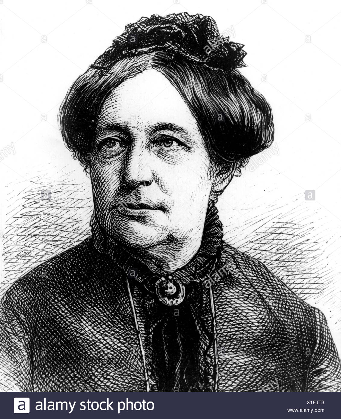 Otto-Peters, Luise, 26.3.1819 - 13.3.1895, German author / writer, feminist, portrait, wood engraving, 19th century, Additional-Rights-Clearances-NA - Stock Image