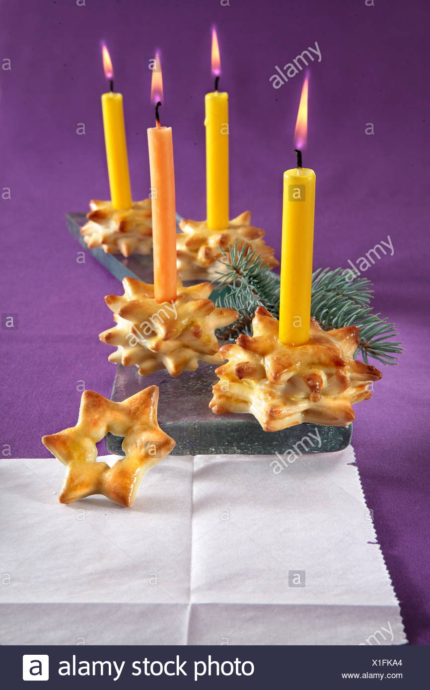 Christmas Yeast Candle Holders - Stock Image