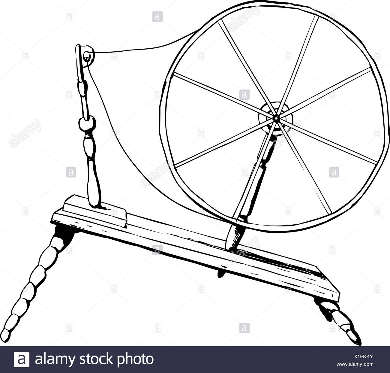 Outlined Side View On Single Old Fashioned Wooden 18th Century Era Textile Spinning Wheel Stock Photo Alamy