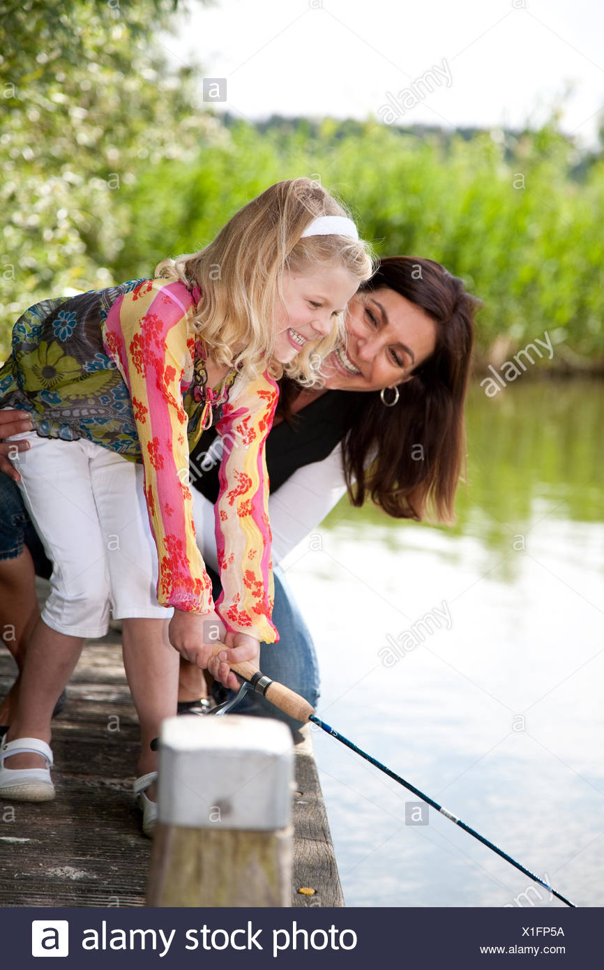 Fishing with mom - Stock Image