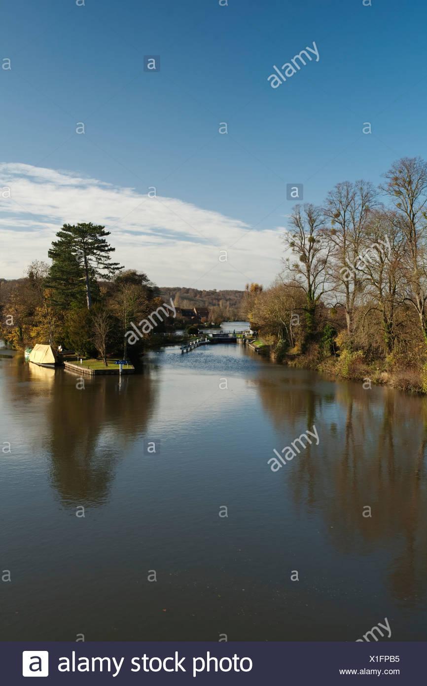 Temple Lock on the River Thames, Berkshire, UK Stock Photo