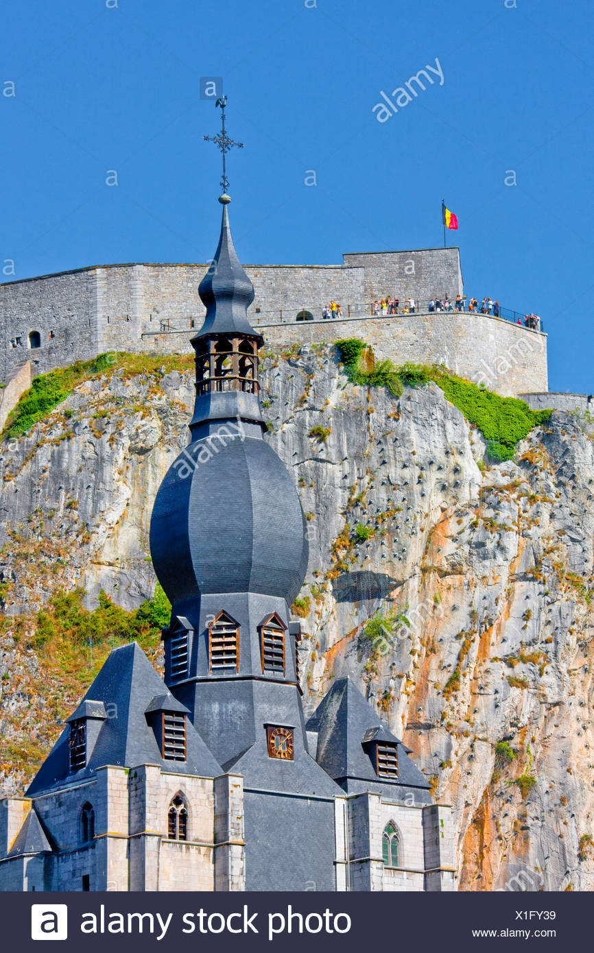 Belgium, Europe, Dinant, stronghold, castle, cliff, church - Stock Image