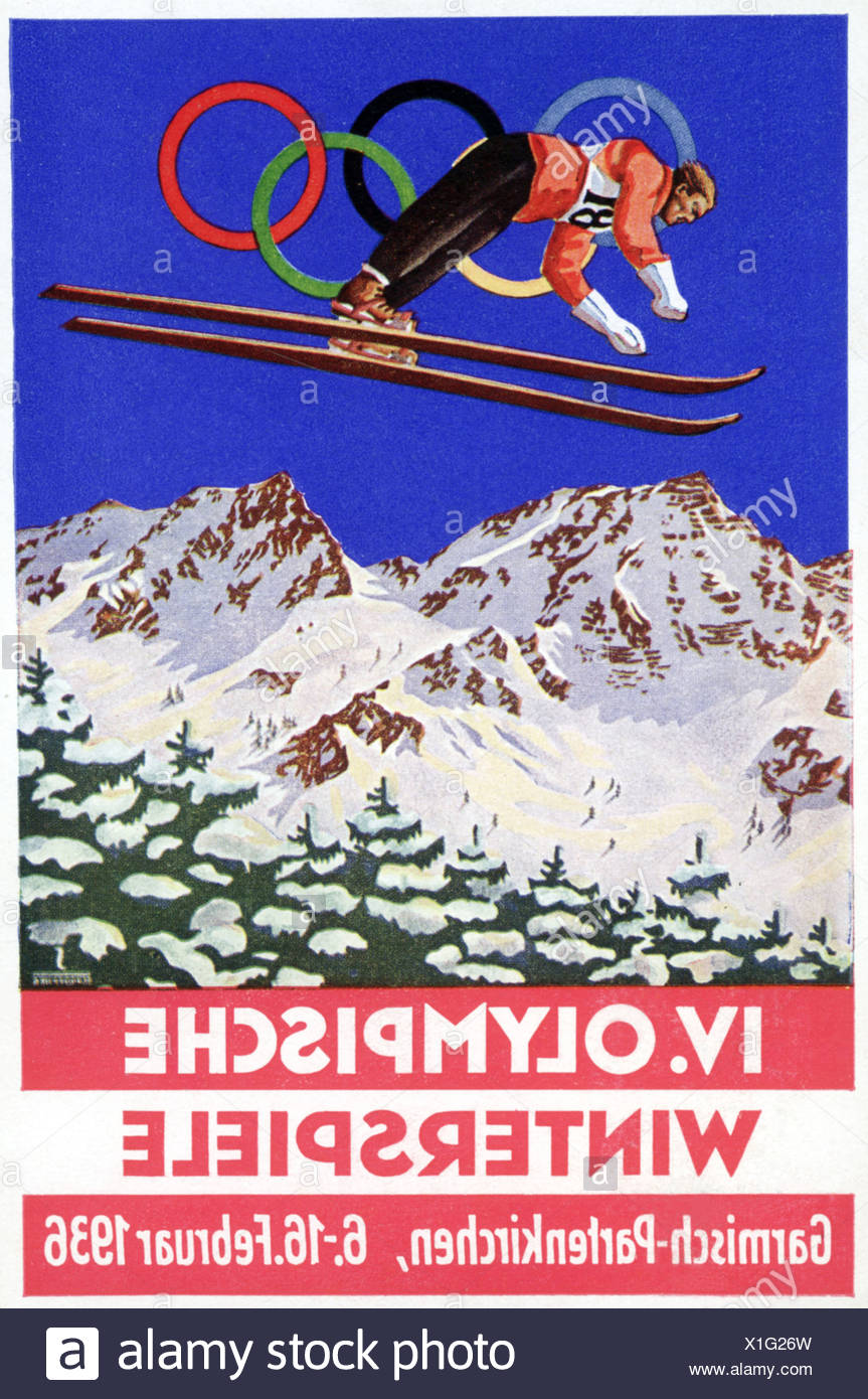 IV, Olympic, Winter, Games, Winter Olympics, Garmisch-Partenkirchen, Bavaria, Postcard, Germany, 1936, sports - Stock Image