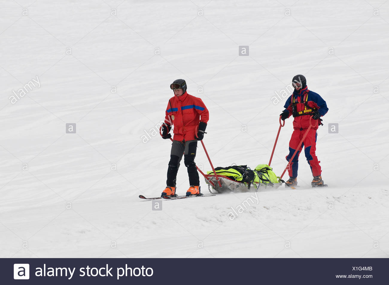Mountain rescue service in operation, two rescuers on skis with a rescue stretcher skiing down to the valley, Chiemgau, Bavaria - Stock Image