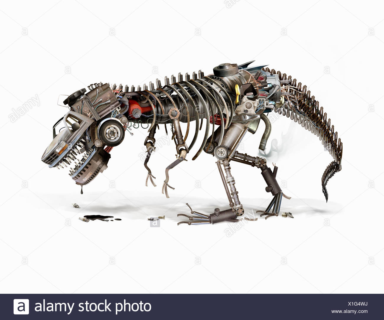 Oil drooling from dying automotive industry robot dinosaur - Stock Image