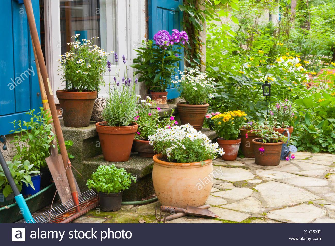 Terrasse Mit Blumen Und Blumentopf, Patio With Flowers And Flower Pots    Stock Image