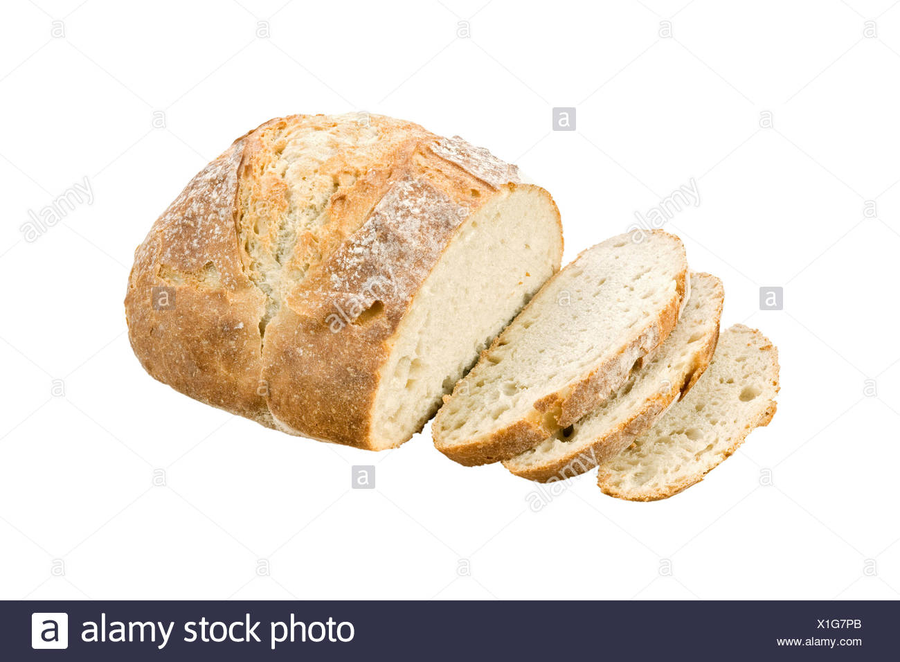 White artisan bread. - Stock Image