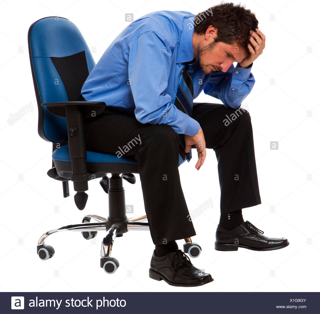 business man businessman put sitting sit chair man isolated conflict person frustration argue noise business dealings deal - Stock Image