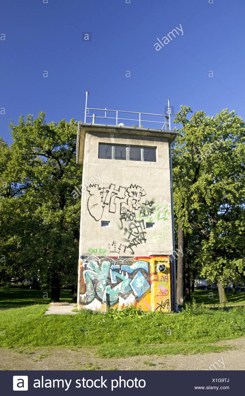 gdr watch tower berlin - Stock Image
