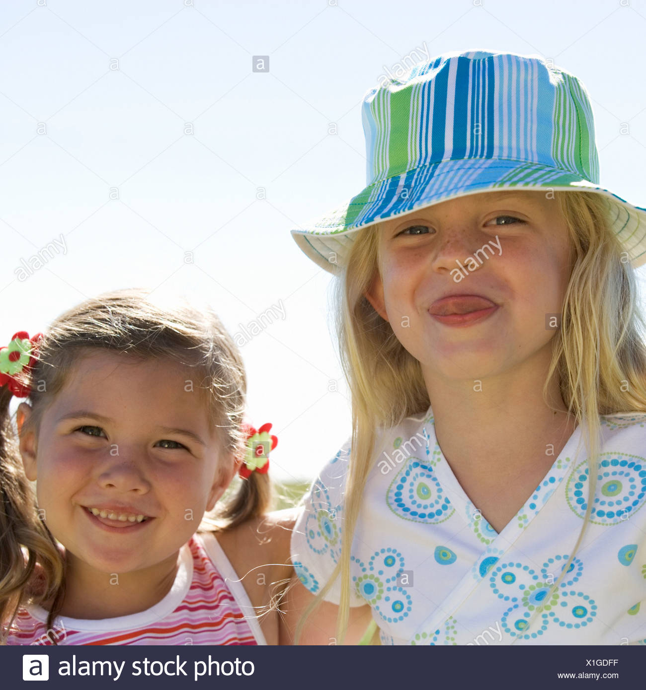 Portrait of two young girls - Stock Image