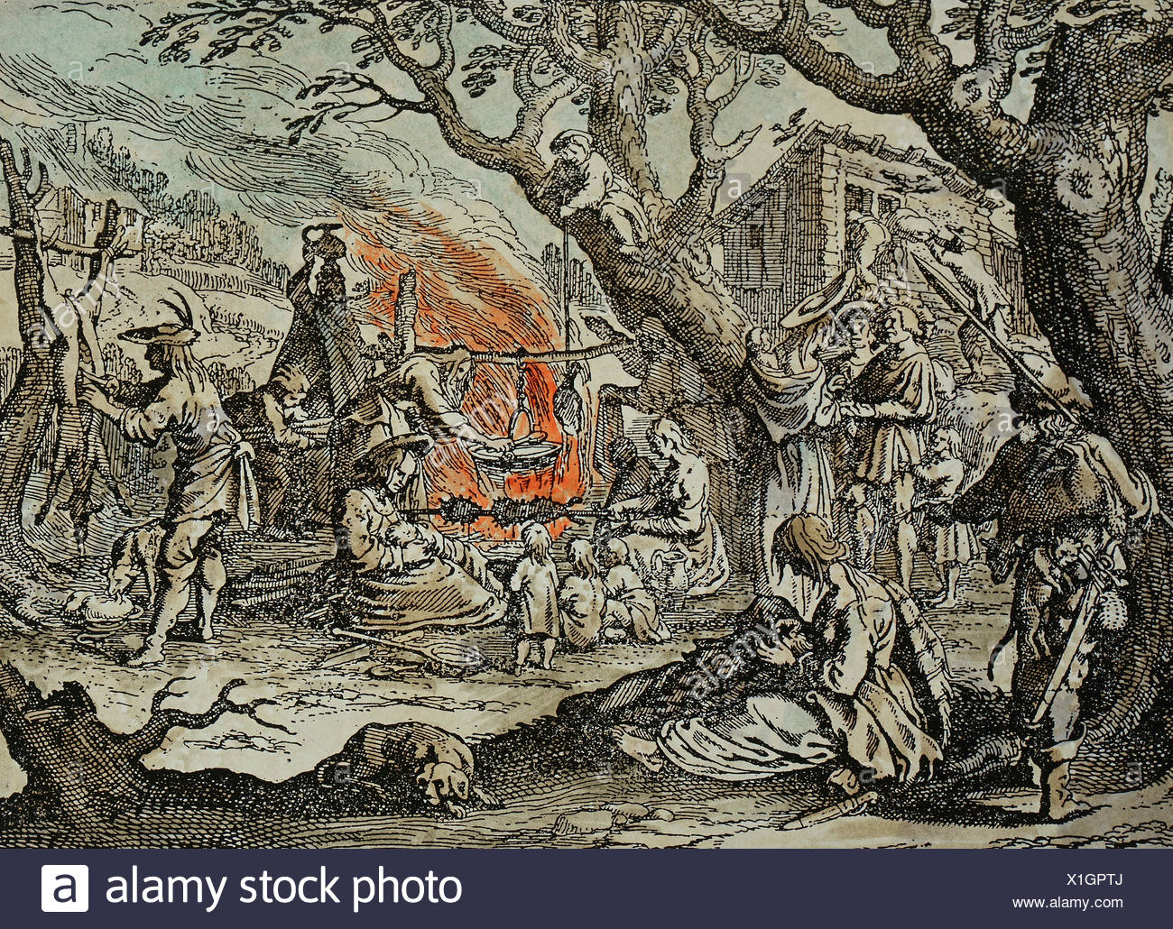 people, Sinti and Romanies, 'Gipsy Camp', copper engraving, coloured, German, 17th century, private collection, Artist's Copyright has not to be cleared - Stock Image