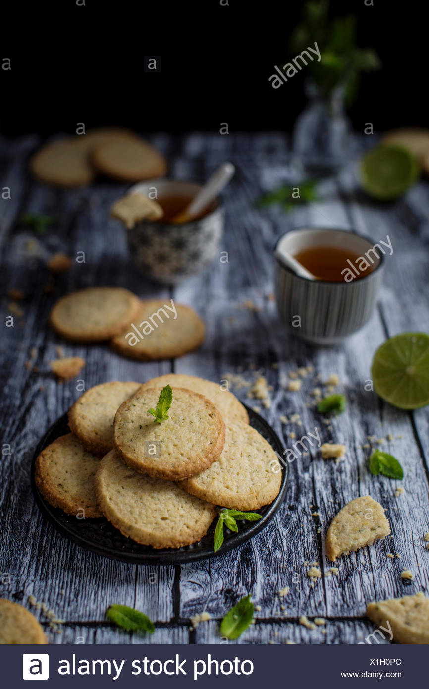 Deliciuos gluten free butter cookies with a nice melt-in-your-mouth sandy texture and a hint of oat flour, flavored with lime ze Stock Photo