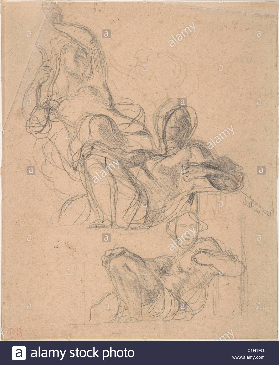 Sheet of figure studies: two studies of a reclining figure, and a seated figure holding a lyre (?). Artist: Eugène Delacroix (French, - Stock Image