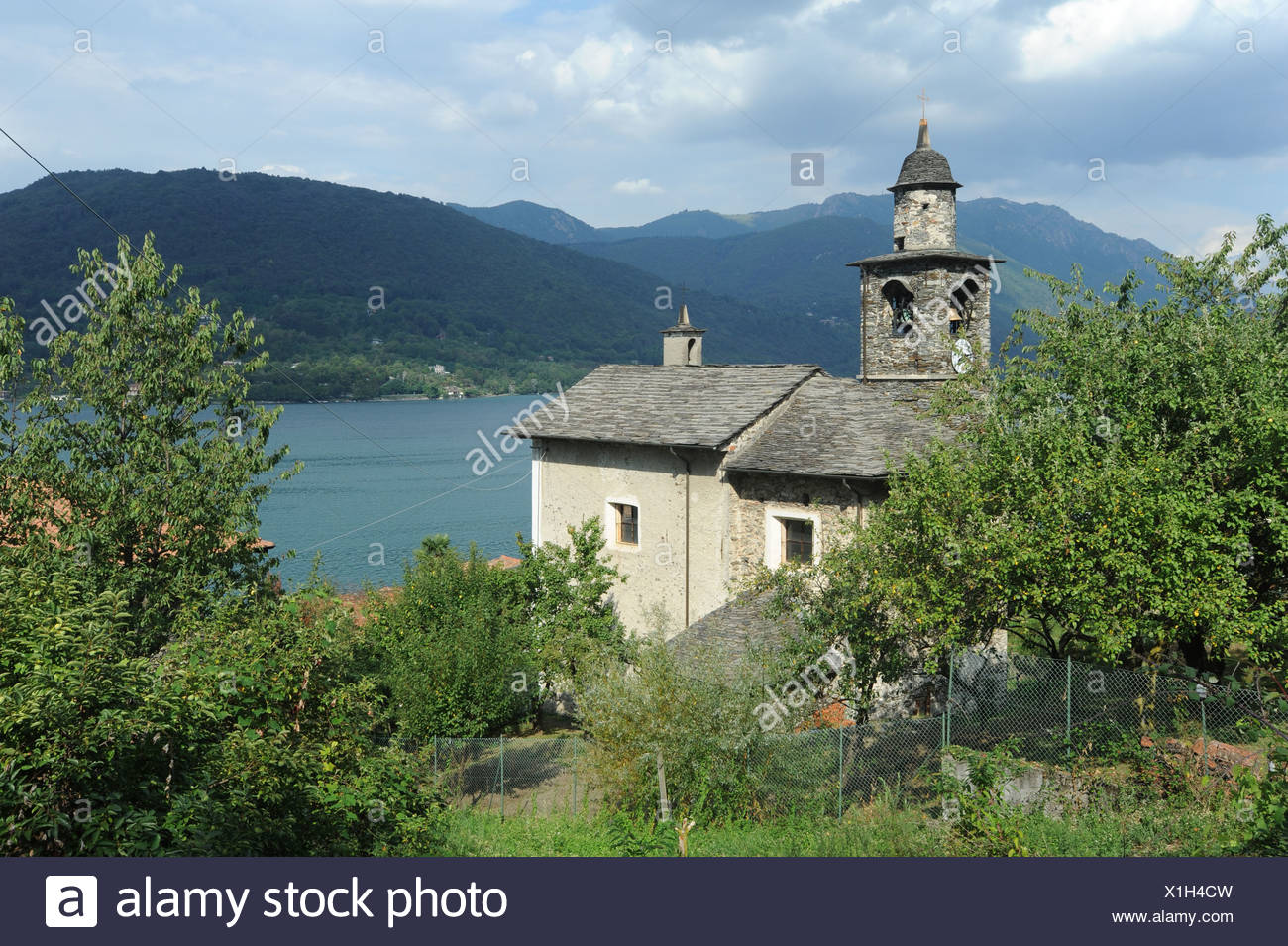 Italy, Piemont, Orta, Ronco, lake, Kirch, scenery - Stock Image