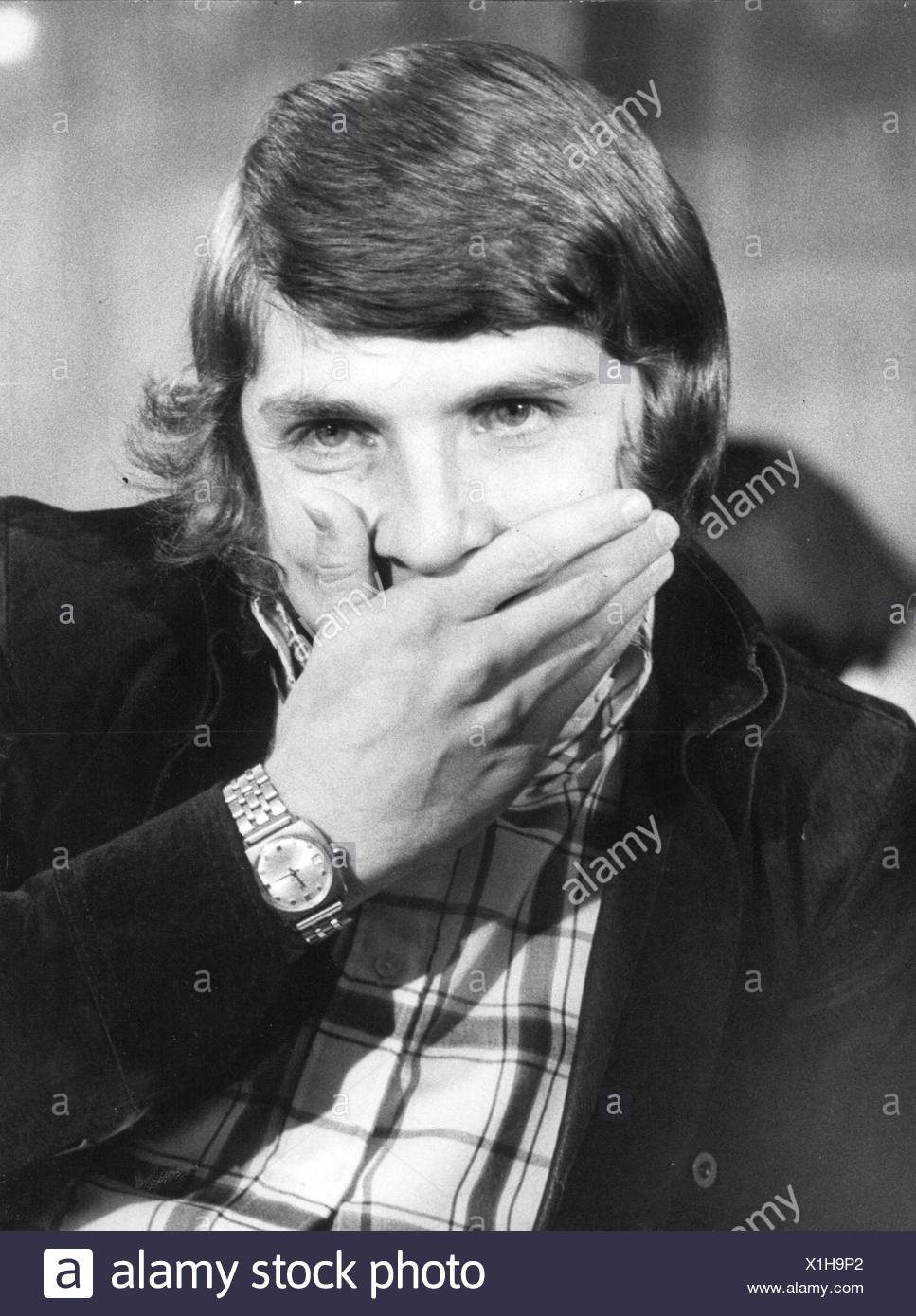 Fischer, Klaus, * 27.12.1949, German football player, striker for FC Schalke 04, before the sports court of the German Football Association, after the proclamation of the sentence, inhibition for two years, 4.11.1972, Additional-Rights-Clearances-NA Stock Photo