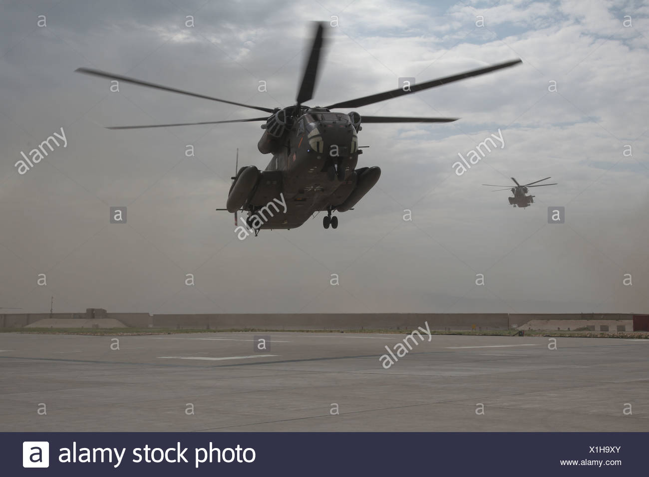 NATO ISAF PRT-Camp, landing of two German Army CH-53 helicopters of type CH-53 at the PRT Camp, Kunduz, Afghanistan, Asia - Stock Image