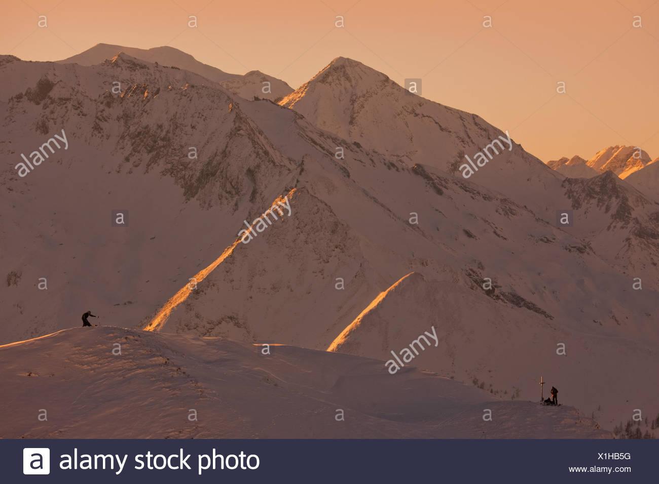 Austria, Salzburg, Rauristal, Hohe Tauern, summits, tour walkers, sundown, Stock Photo