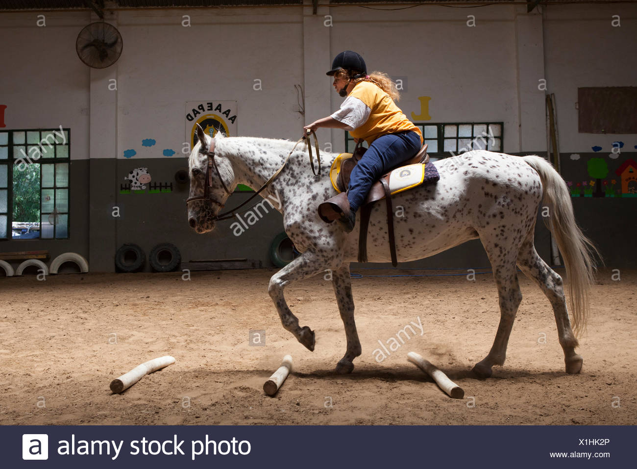 Paraplegic Woman On Horse In A Horse Therapy Center Roxane 38 Disabled And Wheelchair Since Birth Like Riding For 14 Years It Goes To The Center She Trot And Balance Exercises That