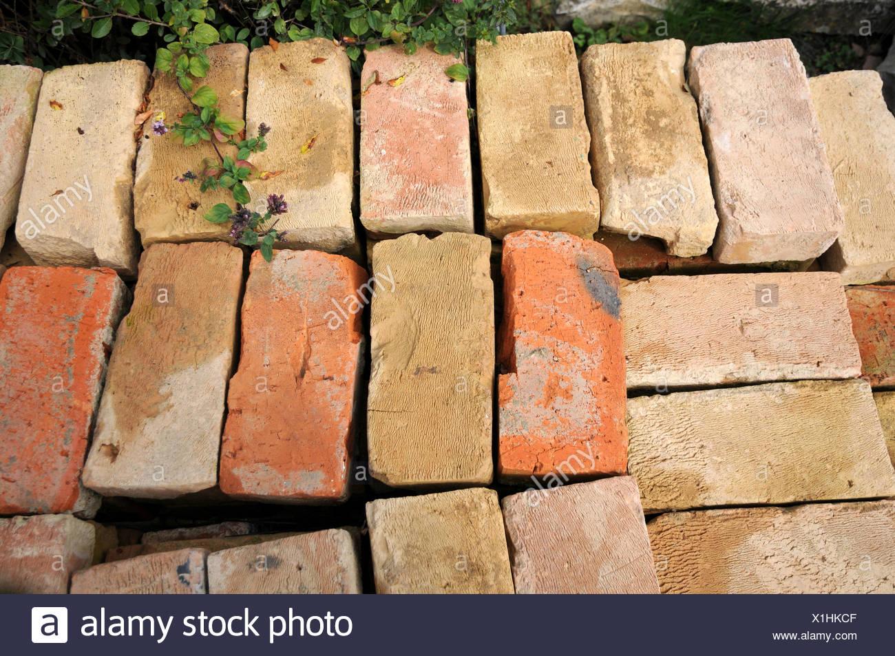 Old handmade bricks - Stock Image