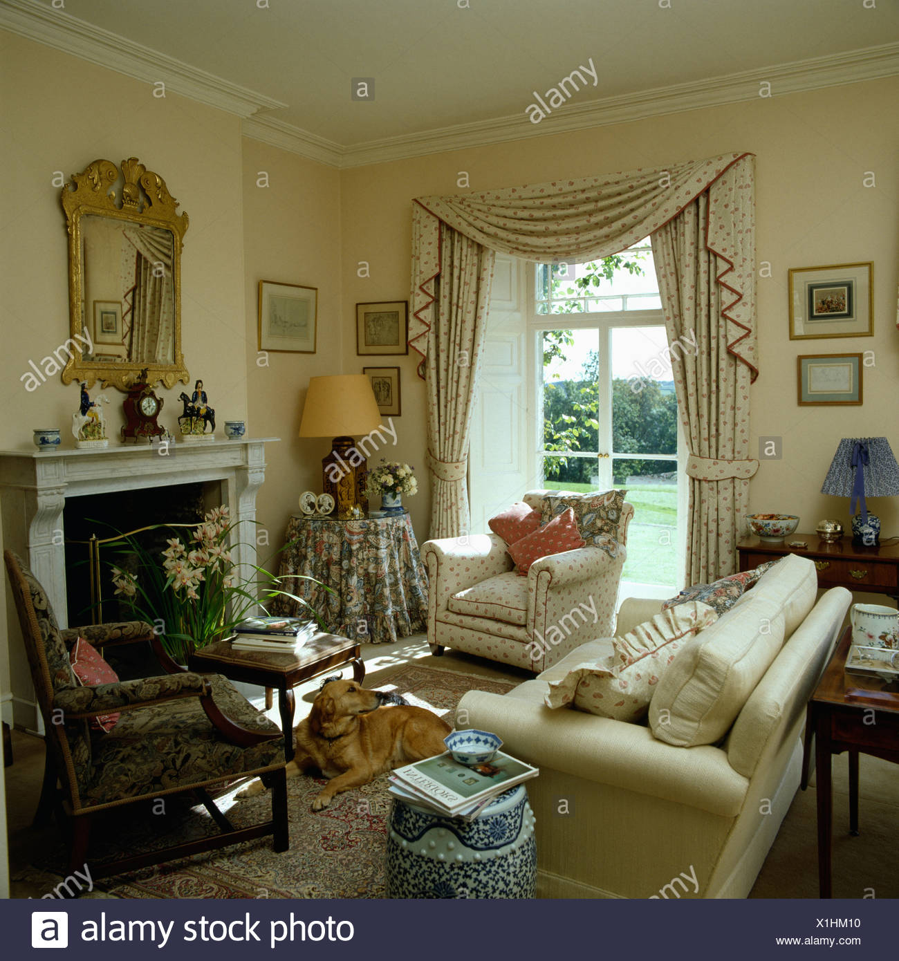 Stupendous Cream Armchair And Sofa In Small Country Living Room With Ibusinesslaw Wood Chair Design Ideas Ibusinesslaworg