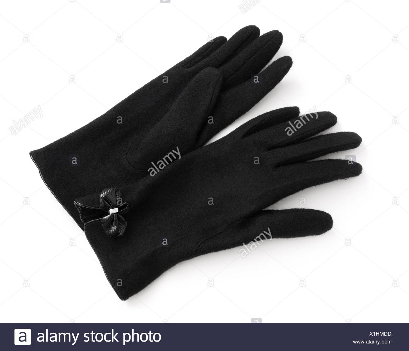 Black wool gloves - Stock Image