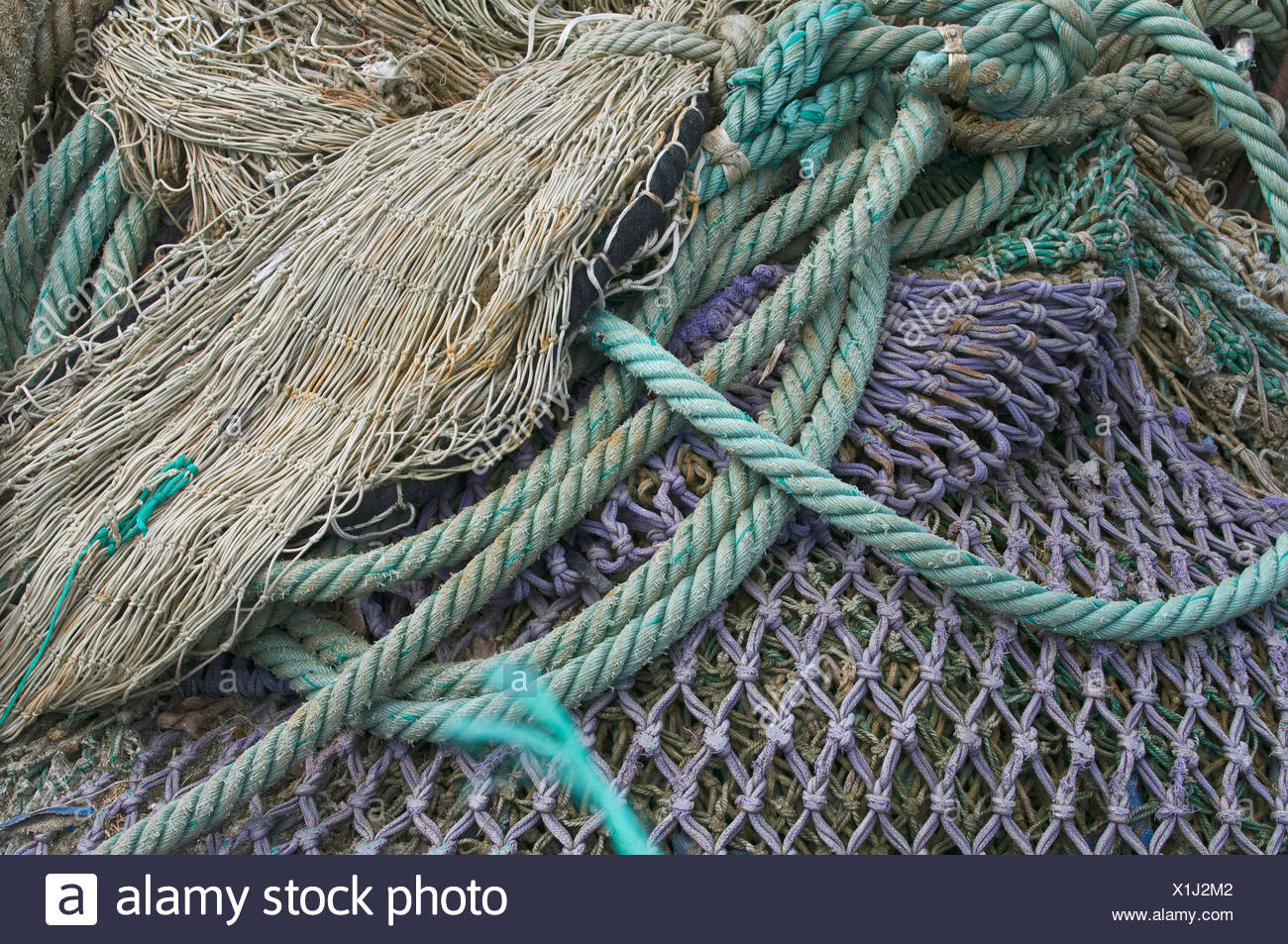 Fishing nets and ropes - Stock Image