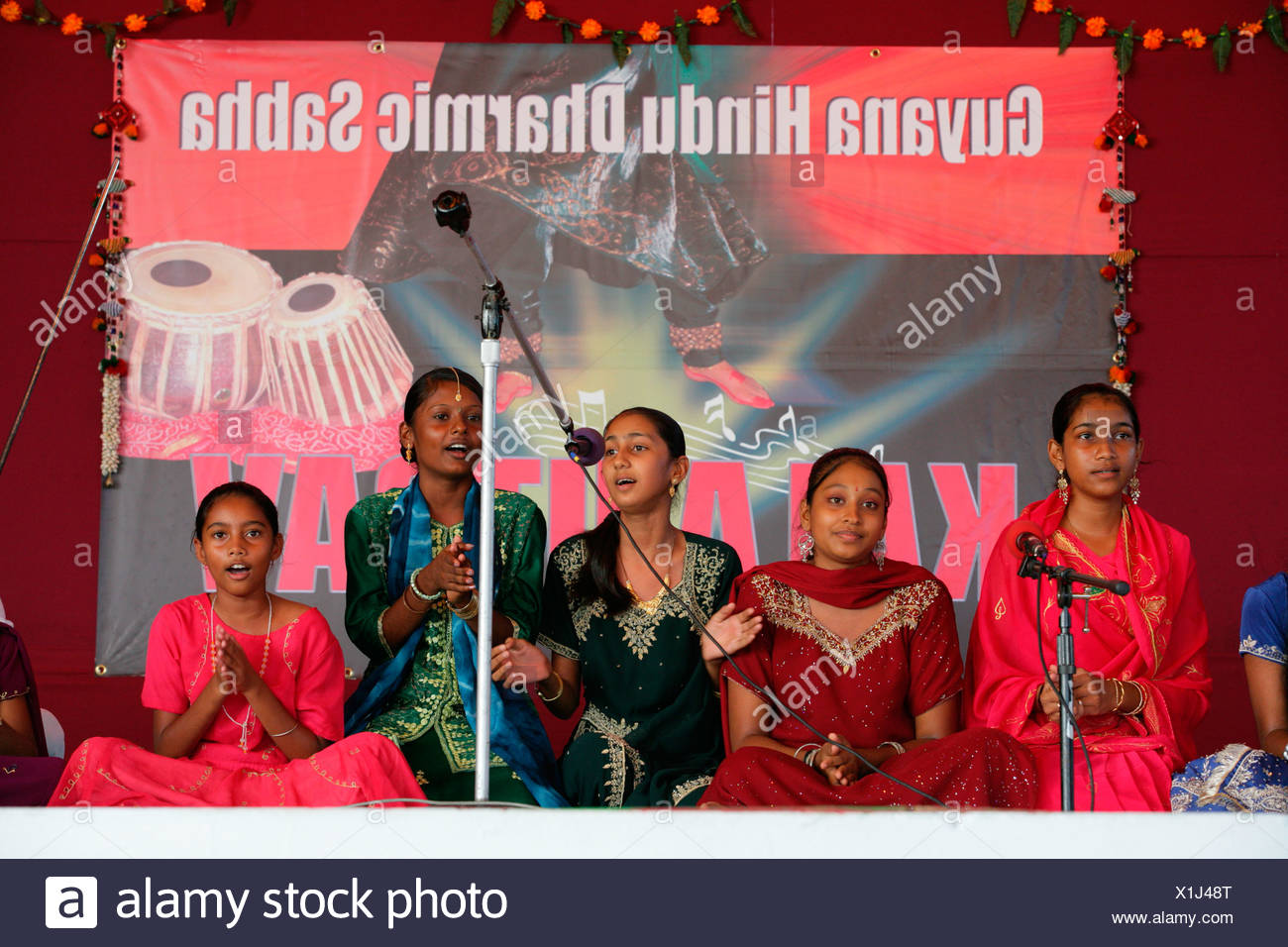 Musicians of Indian ethnicity at a Hindu Festival, Georgetown, Guyana, South America - Stock Image