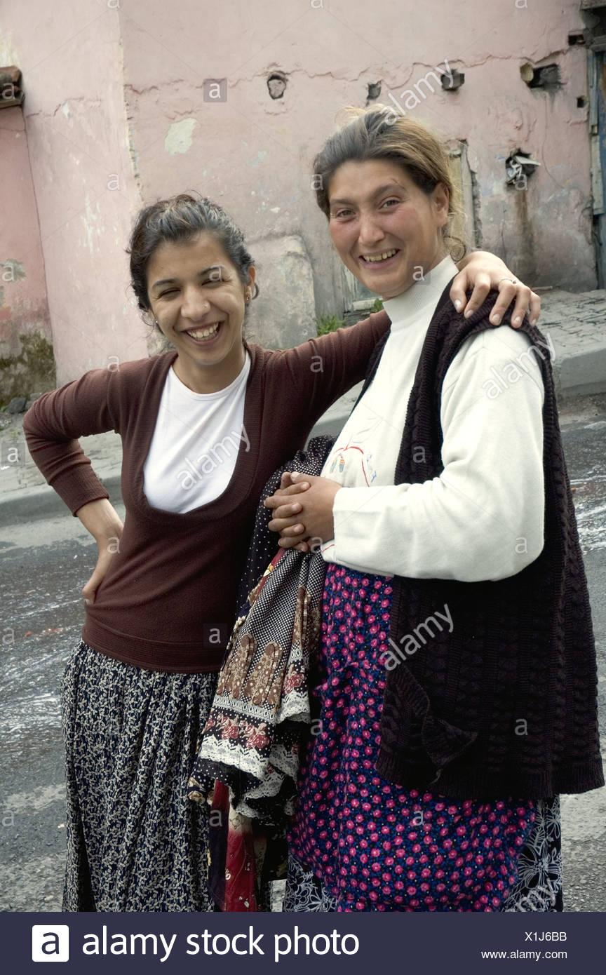 Two Young Roma Women In Kustepe Istanbul Turkey 2006 Stock Photo