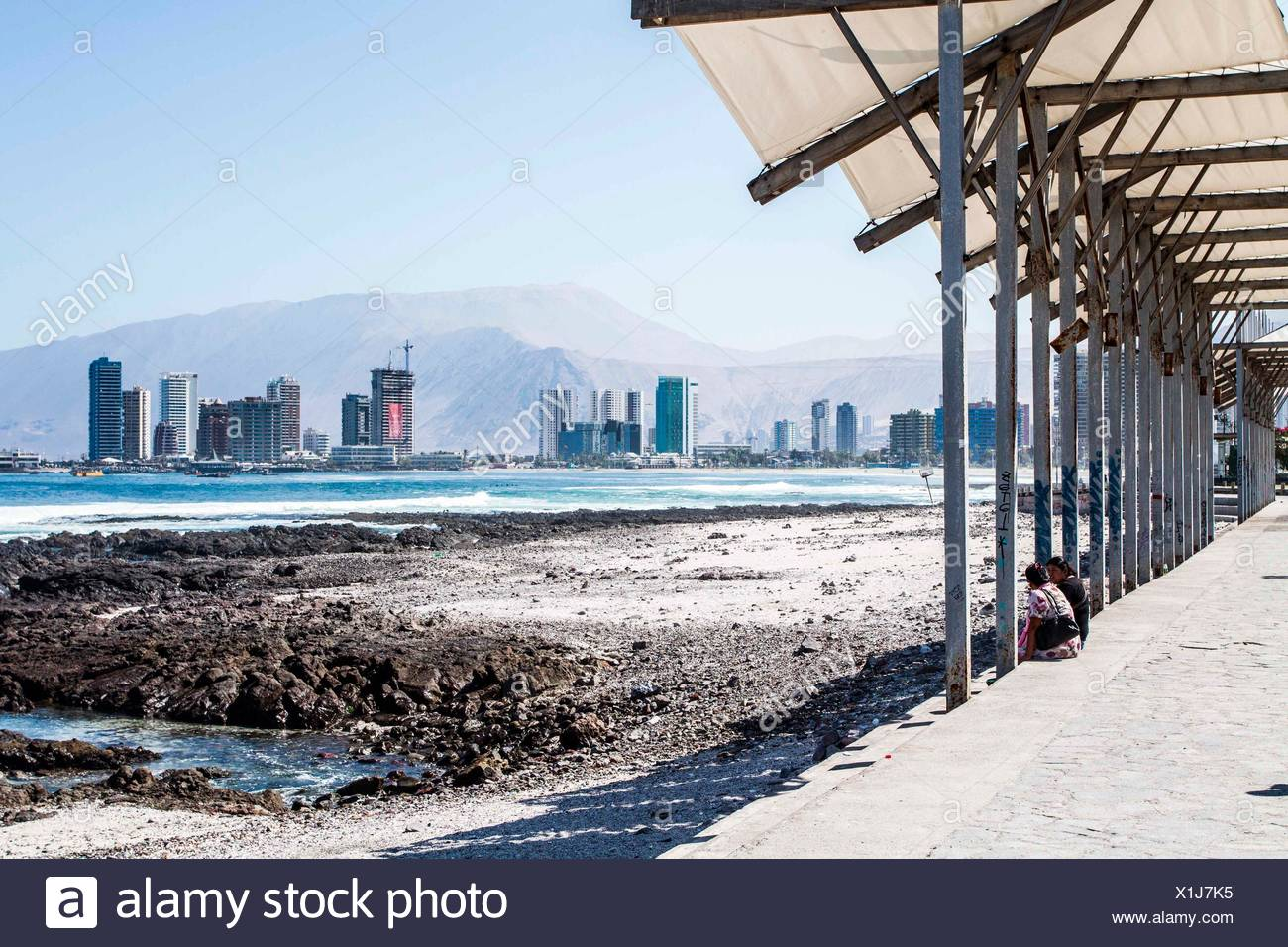 Cavancha Beach. Iquique, Tarapaca Region, Chile. 17.11.15 Stock Photo