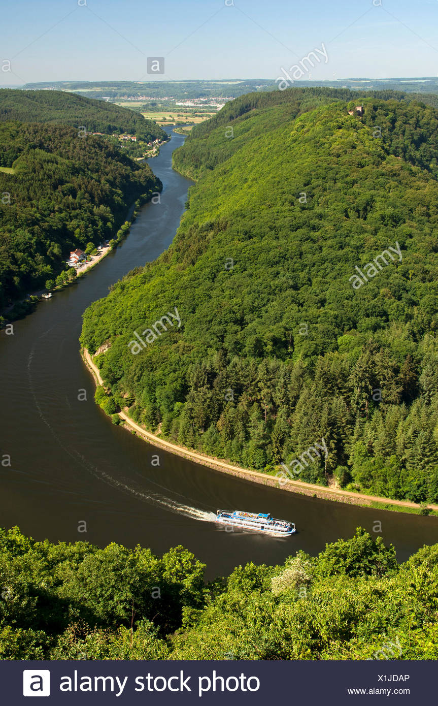 Excursion boat cruising on one arm of the big loop of the Saar river near Mettlach, Saarland Stock Photo