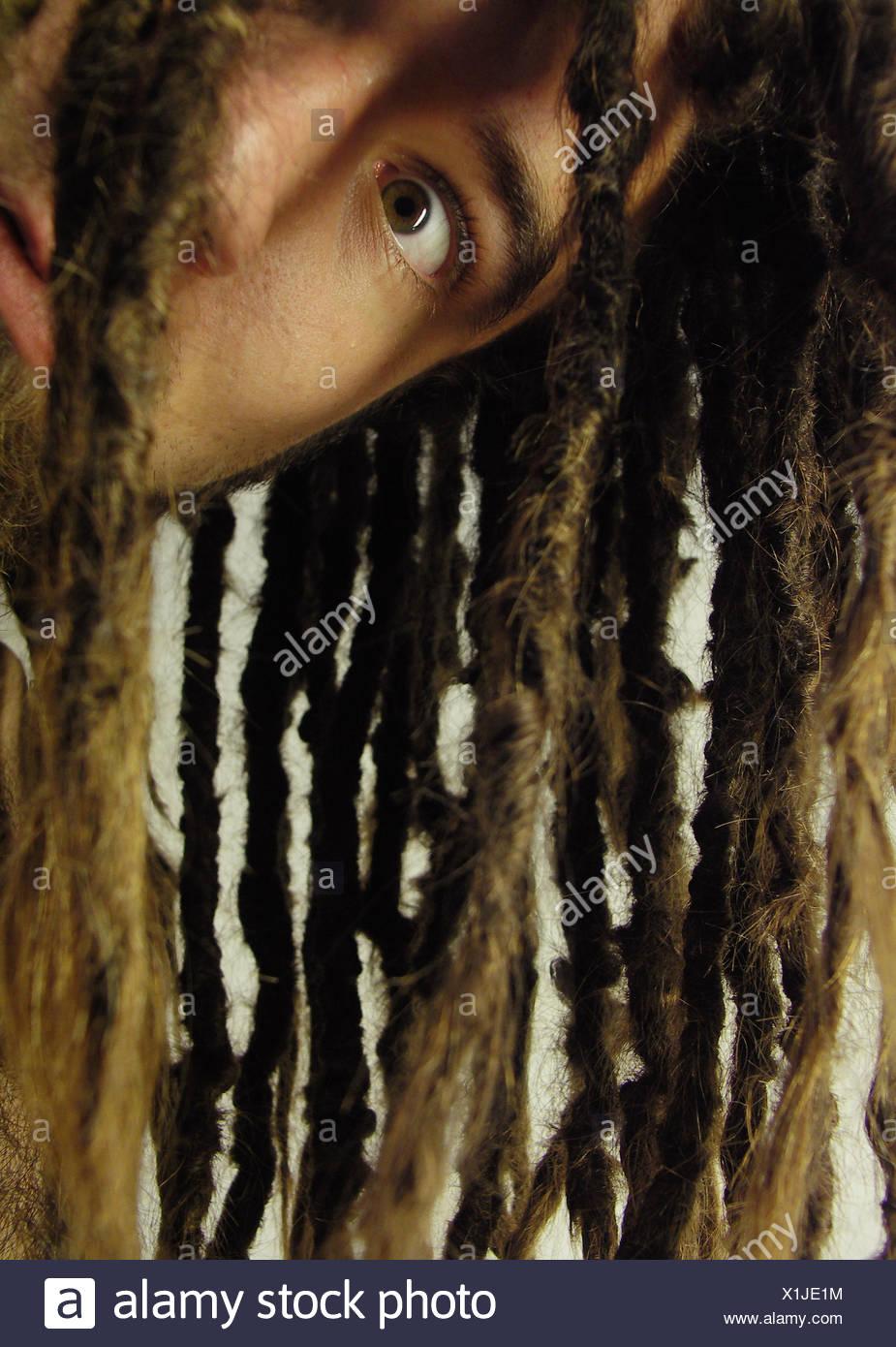young man,hair,dreadlocks - Stock Image