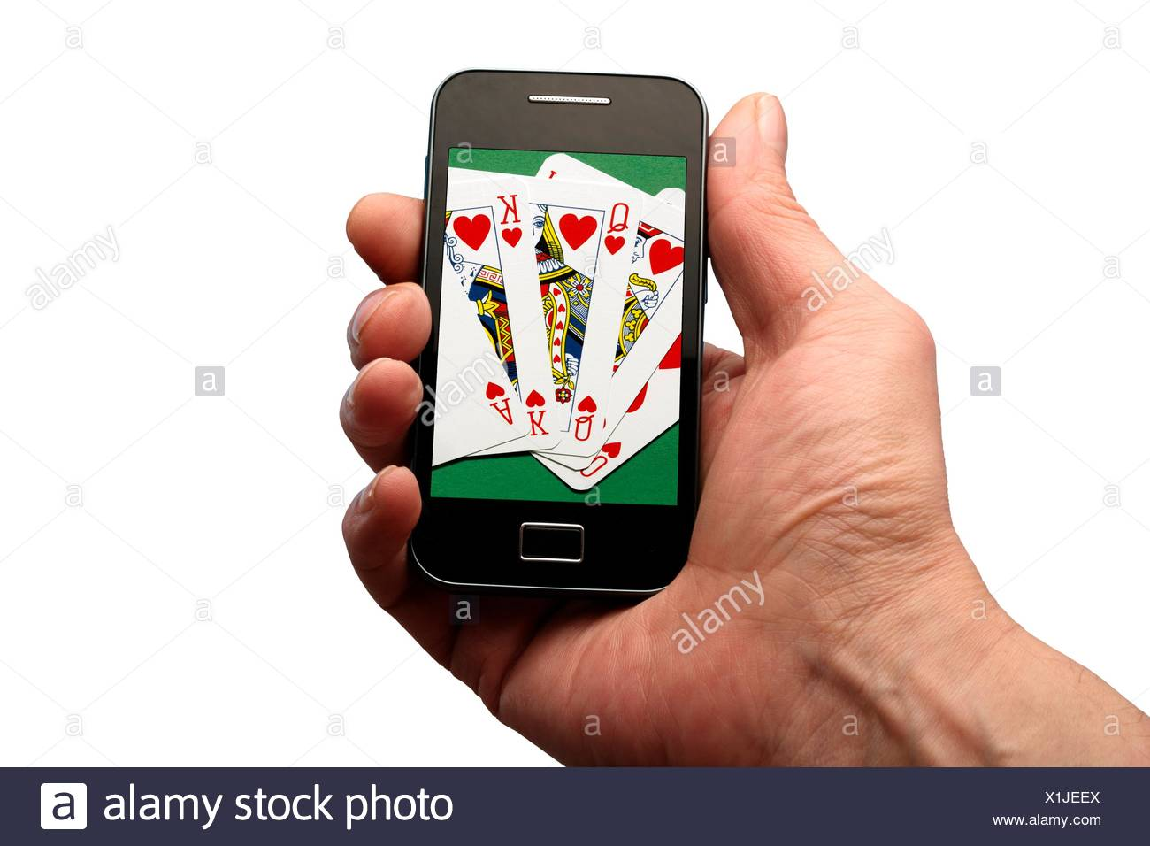 online gambling playing game gambling risk chance playing cards hearts holding smartphone iphone app plain background white background