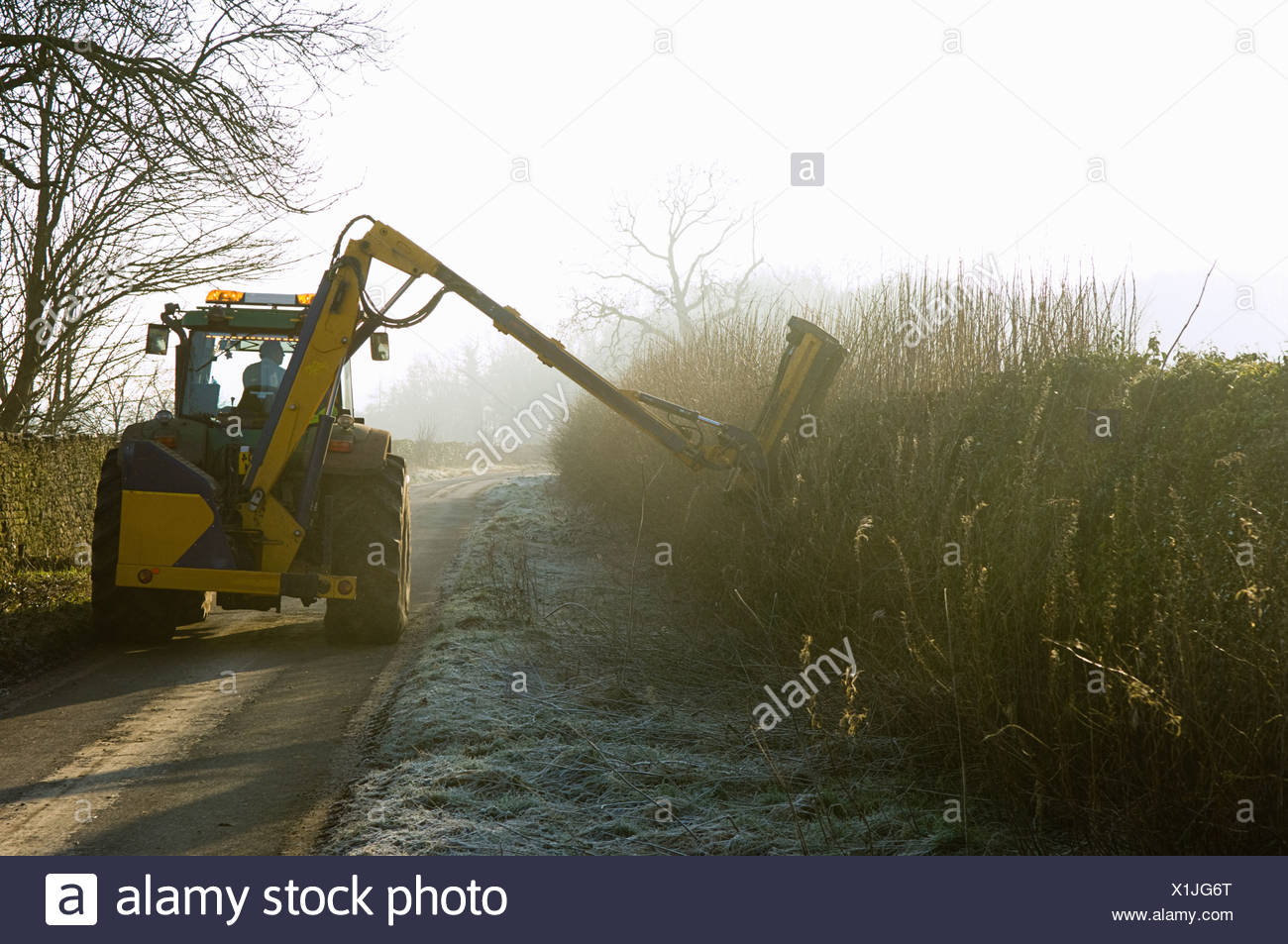Tractor cutting hedge along country road - Stock Image