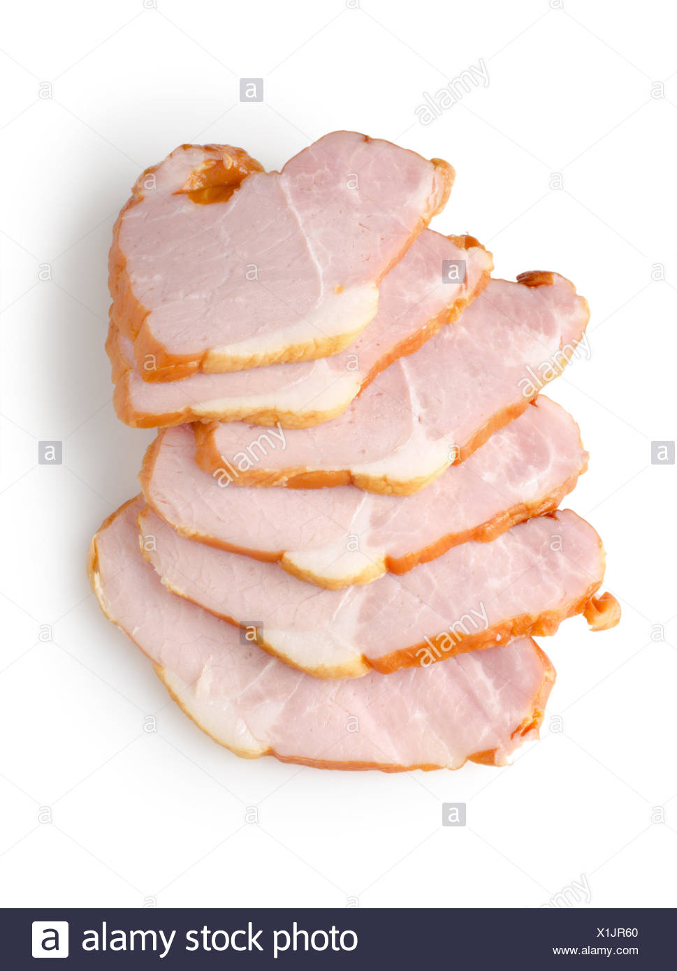 Sliced ham isolated on a white background. - Stock Image