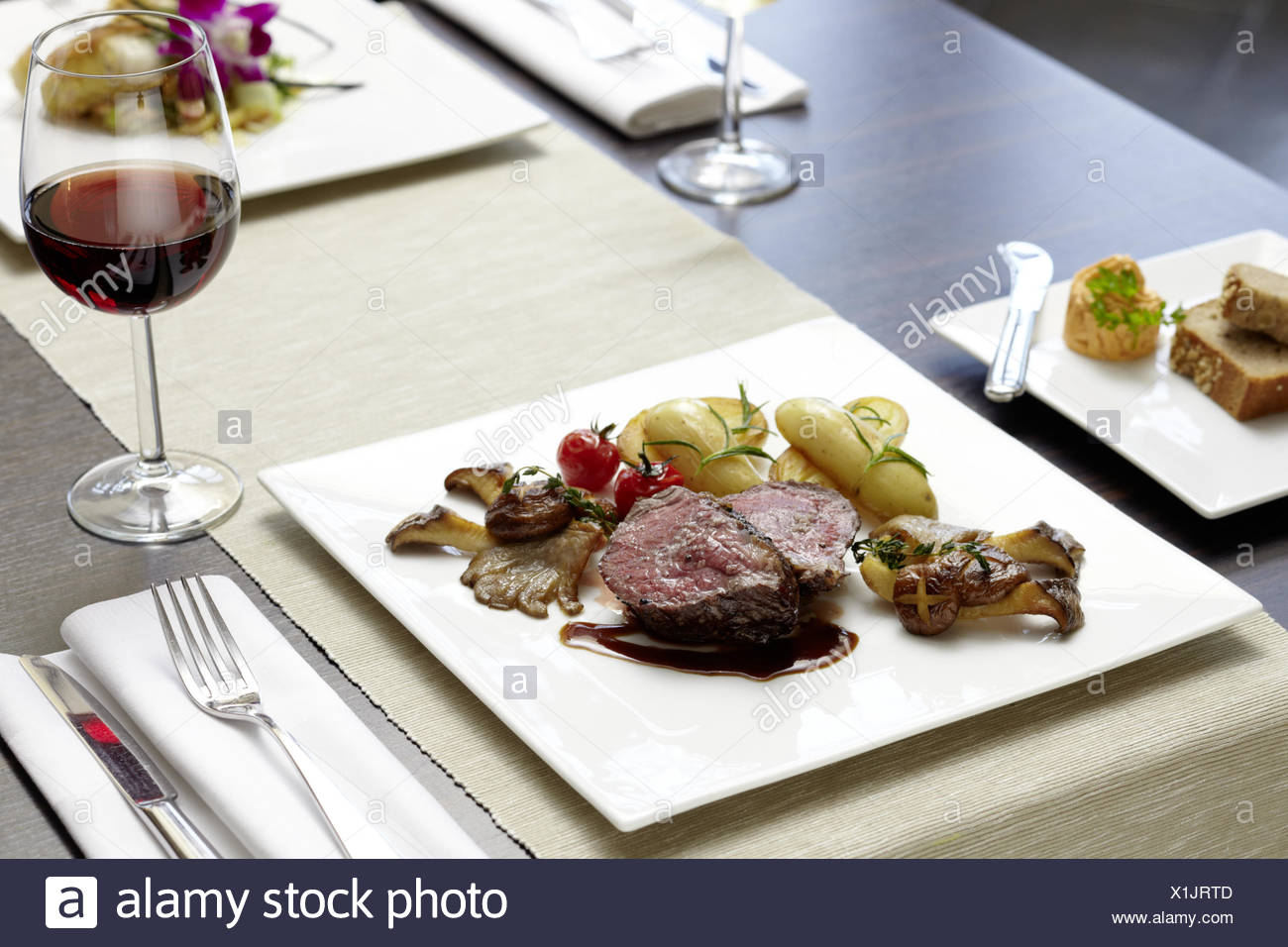 Steak with Salad - Stock Image