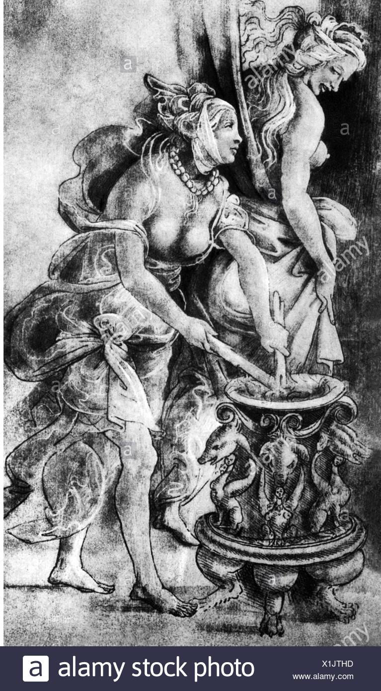 witches, witches making magic salve, drawing, ascribed to Sandro Botticelli (1455 - 1510), , Additional-Rights-Clearences-NA - Stock Image
