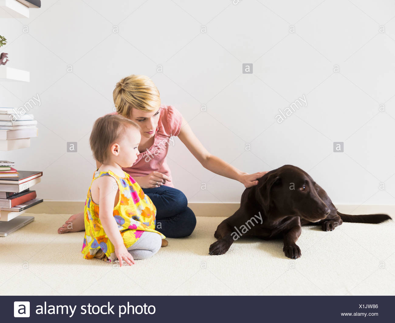 Mother with baby daughter (12-17 months) playing with dog Stock Photo