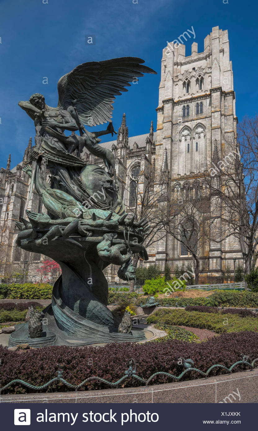 USA,New York,Manhattan,The Cathedral Church of St. John the Divine,Amsterdam Avenue, - Stock Image