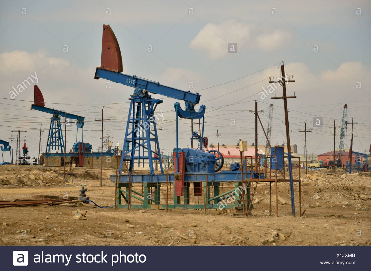 Oil field in Baku on the Abseron Peninsula on the Caspian Sea, Baku, Azerbaijan, Caucasus, Middle East, Asia - Stock Image