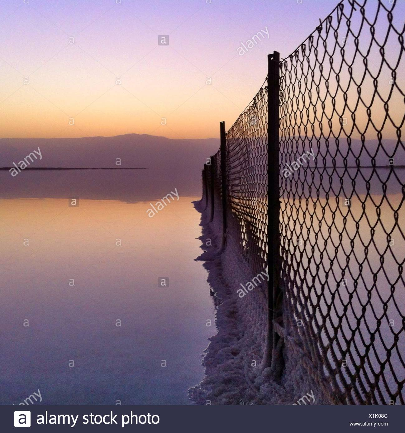 Salt deposits on fence, Dead Sea, Israel - Stock Image