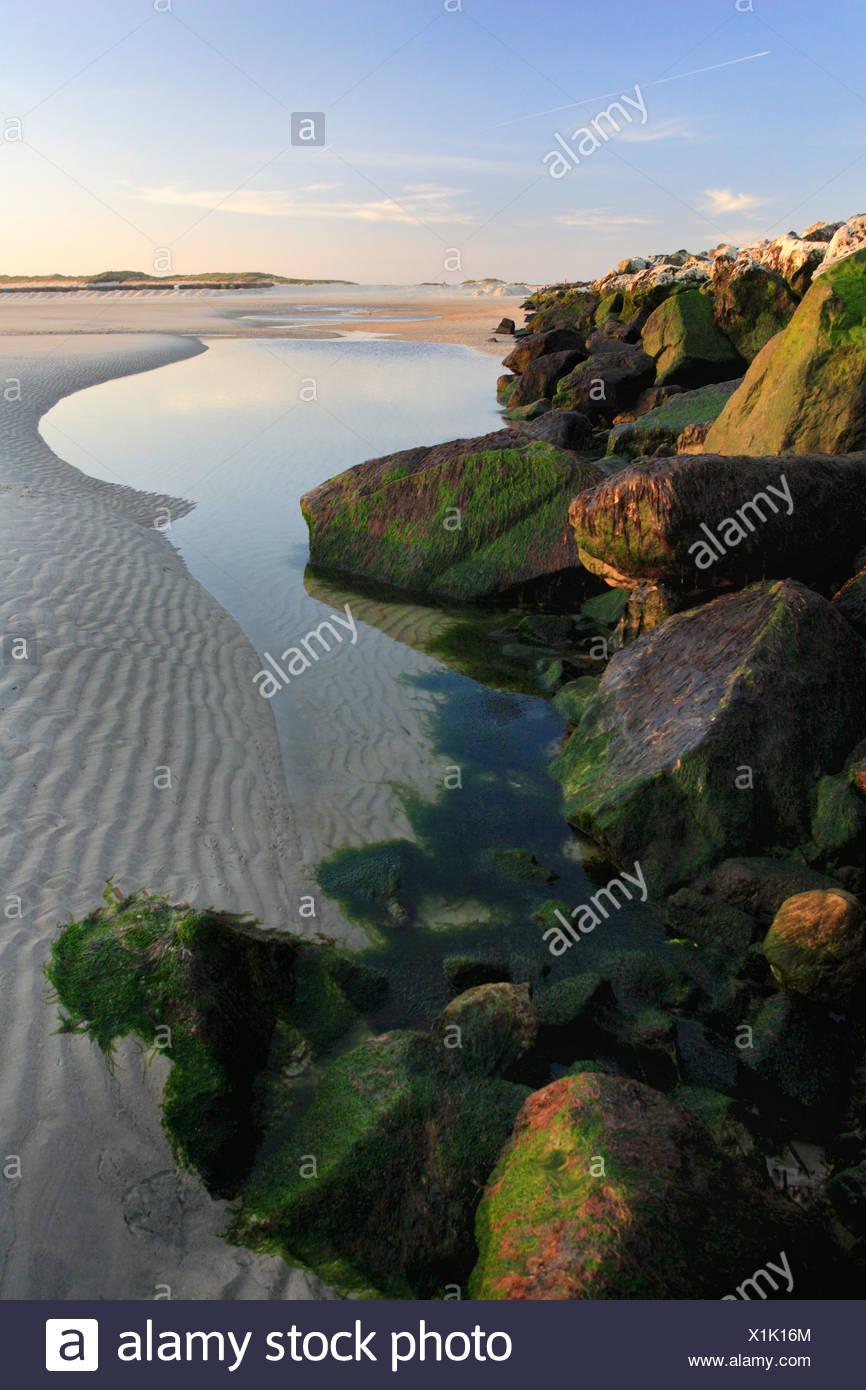 lake behind wave-breakers, Germany, Helgoland Duene - Stock Image