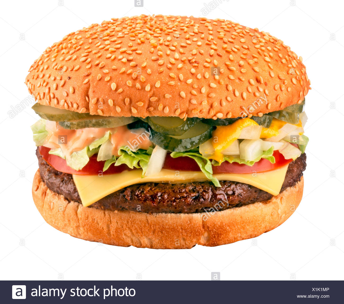 CUT OUT OF CHEESEBURGER - Stock Image