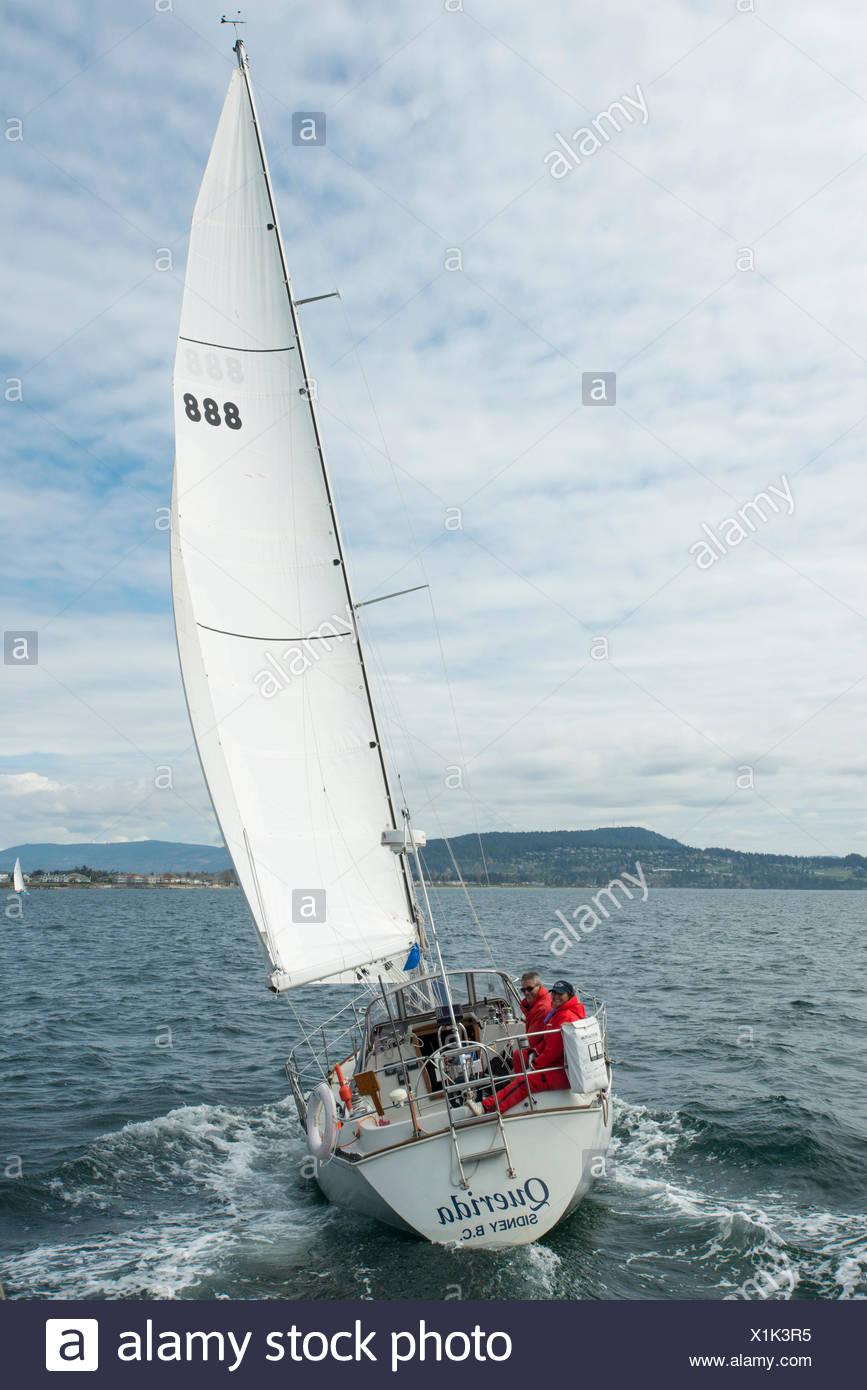 Sailboat racing, Vancouver Island, British Columbia, Canada Stock Photo