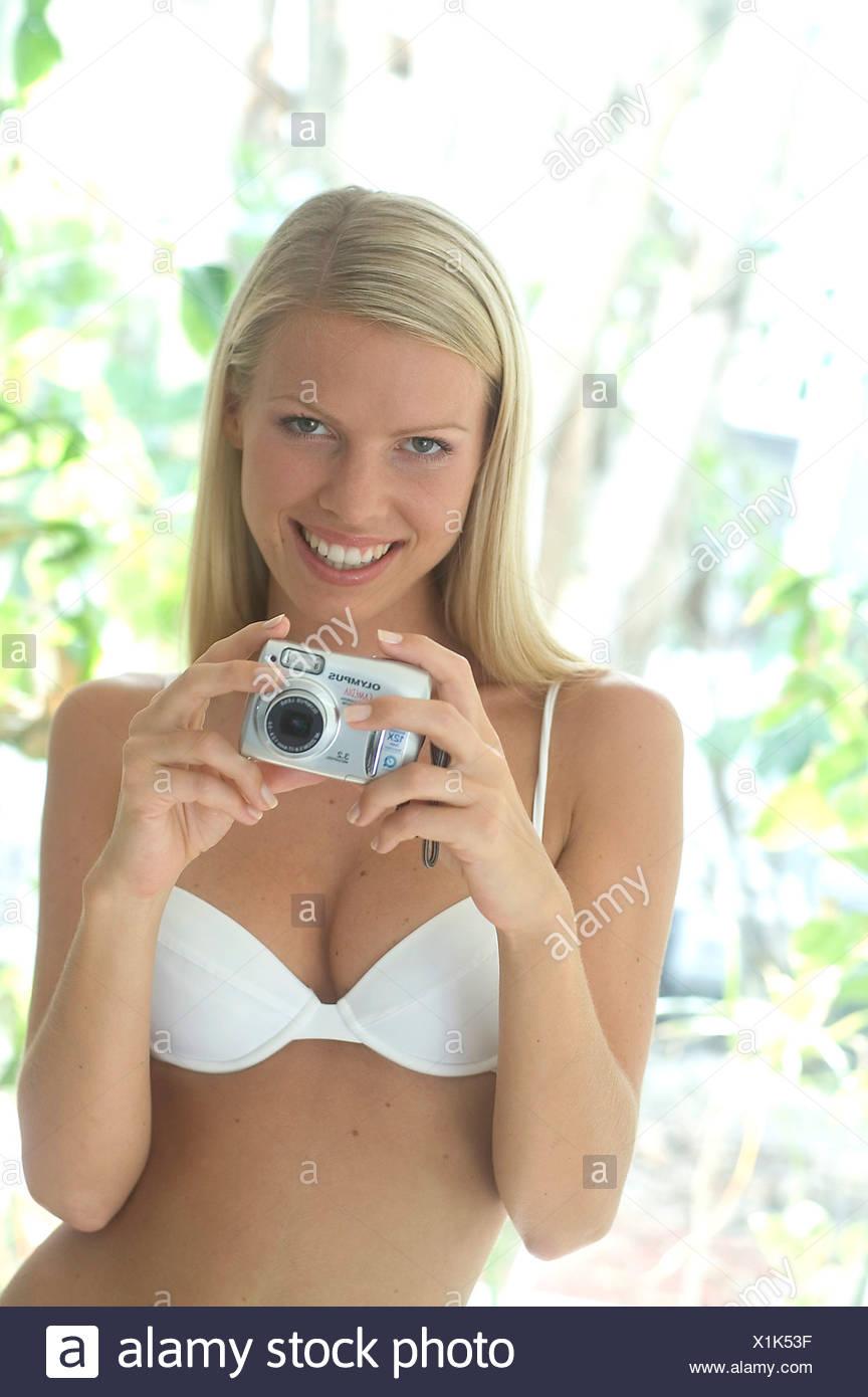 Blonde white bra